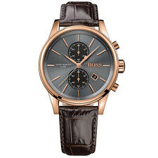 Hugo Boss Men's Watch 1513281 Chronograph Rose Gold Case Brown Leather Strap