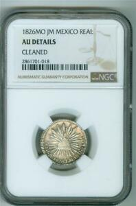 MEXICO 1826 MO JM  1 REAL NGC AU DETAILS CLEANED