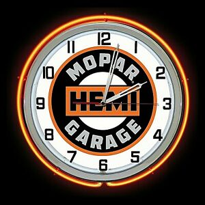 "19"" Mopar Hemi Garage Sign Orange Double Neon Clock Dodge Plymouth Ram Chrysler"