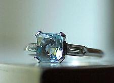 ART DECO VINTAGE PLATINUM DIAMOND .71ct AQUAMARINE WEDDING ENGAGEMENT RING