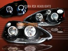 02-04 ACURA RSX PROJECTOR HEADLIGHTS 2 HALO BLACK 03 NEW