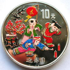 China 1999 Celebrating Spring 1oz 10 Yuan Colour Silver Coin,Proof