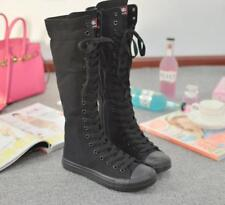 Women Girl Lace Up Zip Canvas Knee High Trainers Boots Punk Gothic Dance Shoes