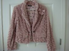 Japan Mouth Valley Pink Faux Fur Jacket with Bow Brooch Size S