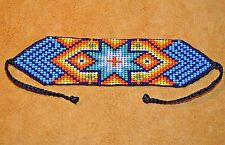 Glass Seed Bead Loom Work Morning Star Beadwork Bracelet, Colombia South America