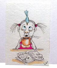 LWick Original ACEO art animal blue bird simple woman girl coffee paper