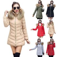 WOMENS LADIES QUILTED WINTER COAT PUFFER FUR COLLAR HOODED JACKET PARKA S-3XL US