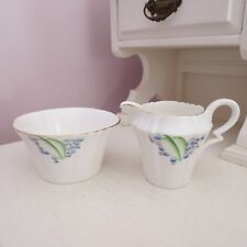 Royal Albert sugar bowl & milk jug 'lilac time'1927-1935 Art deco