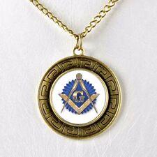 Masonic Master Mason Blue Lodge Glass Dome Cabochon Pendant Necklace w Chain #5