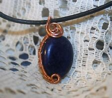 BLUE LAPIS LAZULI COPPER WIRE WRAP WOVEN PENDANT WITH LEATHER CORD NECKLACE