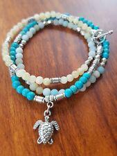 Wrap Bracelet/Necklace Turtle Turquoise Beads Sea Gypsy Ocean Topaz Amazonite