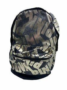 (New) Victoria's Secret PINK LOGO's Campus Backpack Bling Black & Gold Foil