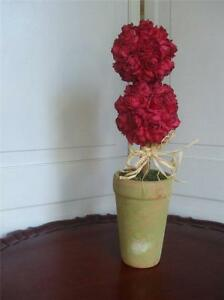"""Double Ball Small Silk Red Rose Topiary Artificial Floral Terracotta Pot 16.5"""""""