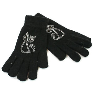 Knitted Ladies/Girls Gloves with Sparkly Silver Cat Motif