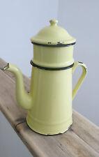 Vintage FRENCH Enamel-ware COFFEE POT+FILTER Country Kitchen LEMON YELLOW
