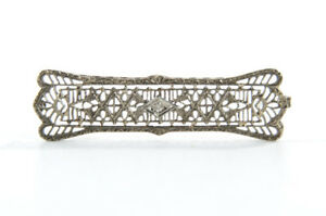 Antique Filligree Pin Brooch Solid White Gold Sash Bar Art Deco Nouveau Jewelry
