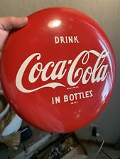 """Vintage 12 Inch """"Drink Coca Cola in bottles"""" Button MINT condition VERY CLEAN!!!"""