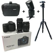 Canon 90D camera 18-55 + 55-250 Lens + Bag + Flash + Tripod UK NEXT DAY DEL