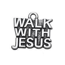 10pcs WALK WITH JESUS Christian Charms Pendant Jewelry Making