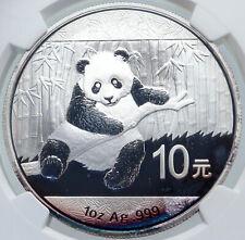 2014 CHINA PANDA Bamboo TEMPLE of HEAVEN Silver 10 Yuan Chinese Coin NGC i86163
