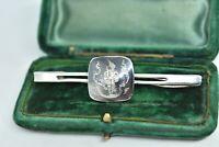 Vintage Sterling Silver Siamese tie clip with enamel design Peaky Blinders #Y400
