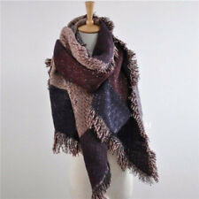 Women's Long Cashmere Winter Wool Blend Soft Warm Scarf Tassels Wrap Shawl Plaid