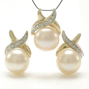 Pink Cultured Pearls Earrings & Pendant Set 14K Solid Yellow Gold Diamonds TPJ