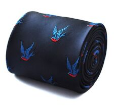 Frederick Thomas navy tie with swallow pattern FT665