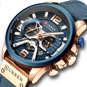 Men Luxury Casual Business Sports Quartz Watch Waterproof Blue Leather Strap