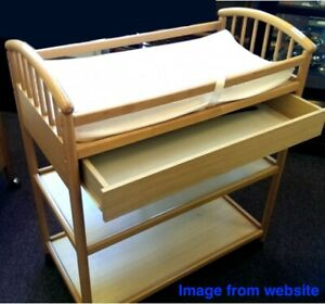 "Baby Changing Table with A Drawer / Natural Finish / Height 32"" from the floor"