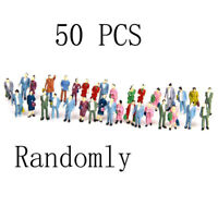 50PC HO Scale 1:87 Mix Painted Train Park Passenger People Figures Functional