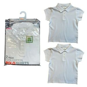 GIRLS 2 PACK WHITE SCHOOL POLO T SHIRTS PIQUE EX UK NXT STORE 3-16 Yr100% Cotton