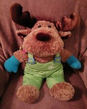 Dan Dee plush Moose stuffed animal in winter snowsuit with mittens and scarf