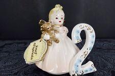 Vintage Josef Originals 2nd Birthday Angel - Blonde Girl In Pink Dress Figurine