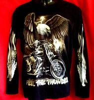 AAAAAA  Harley Motor Bike/Eagle print Black 100% cotton L/s t-shirt New