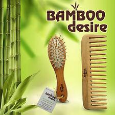 Natural High Quality Bamboo Wood Mini Pocket Hair Brush Detangling Comb Set
