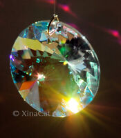 Round Faceted Prism 60mm Austrian Crystal Clear AB Prism SunCatcher 2.5 inches