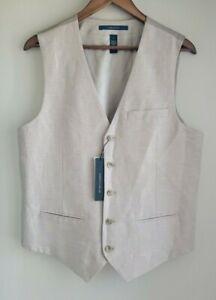 Perry Ellis Mens Vest Dressy Essentials Natural Linen Core M L Medium Large