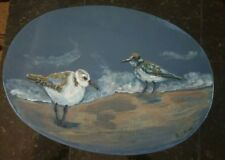Hand Painted Wooden Stool Sandpipers Beach Cottage Deco RAMFish Artist Original