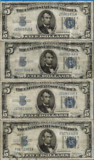 Lot of 4 - 1934-A $5 Silver Certificate - Evenly Circulated # 4