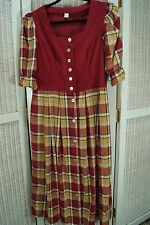 Traditional Dirndl Dress UK12/EU38 Burgundy Bodice Plaid Skirt Landhaus Tracht