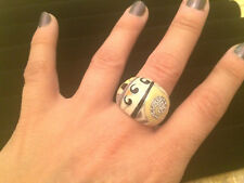 *NWT* CHUNKY Silver Enamel Inlay & White CZ Fancy Dome Cocktail Ring - Size 8