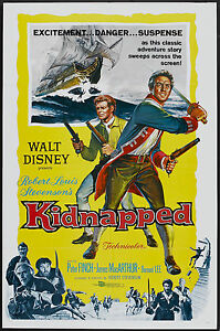 KIDNAPPED orig 1960 DISNEY one sheet movie poster PETER O'TOOLE/JAMES MACARTHUR