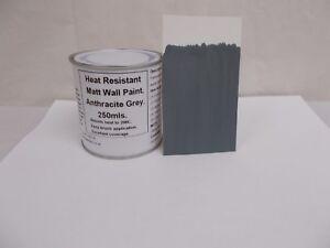 1 x 250ml Matt Dark Grey Heat Resistant Wall Paint For Wood Burner Stove Alcove