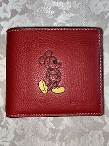 COACH-Disney MICKEY LIMITED EDI Men's Pebble Leather ID Wallet Billfold RED NEW
