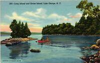 Vintage Postcard - Long Island and Goose Island Lake George New York NY #4259