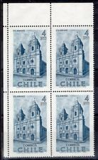 CHILE 1968 STAMP # 732 MNH ARCHITECTURE BLOCK OF FOUR CORNER OF SHEET