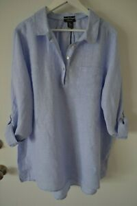 Jones & Co Chic Linen Blouse Top Shirt Tunic Plus Size 2X