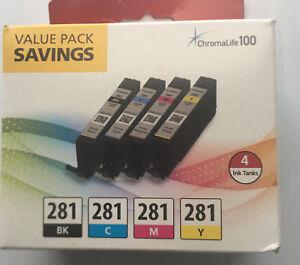Canon CLI-281 Black, Cyan, Magenta & Yellow 4 Ink Cartridges