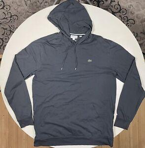 Lacoste Men's Hooded T-Shirt 1XL TALL Long Sleeve Lightweight Hoodie GREY XLT